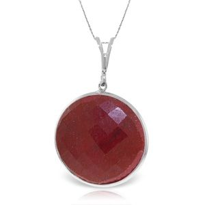 NECKLACE WITH CHECKERBOARD CUT DYED ROUND RUBY